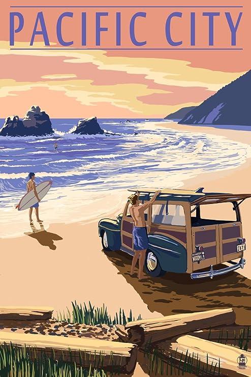 Amazon.com: Pacific City, Oregon - Woody on Beach (9x12 Fine Art ...