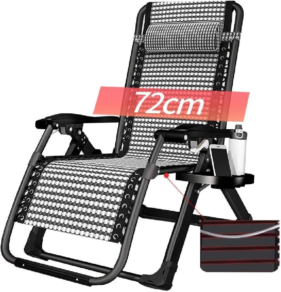 大人用の大型重力椅子、カップホルダーとヘッドレスト付きの調節可能な折りたたみ式バルコニーリクライニングチェア、150kgをサポート