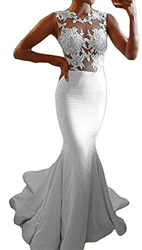Udresses Womens' Illusion Lace Sheer Mermaid Wedding Dress for Bride UX025