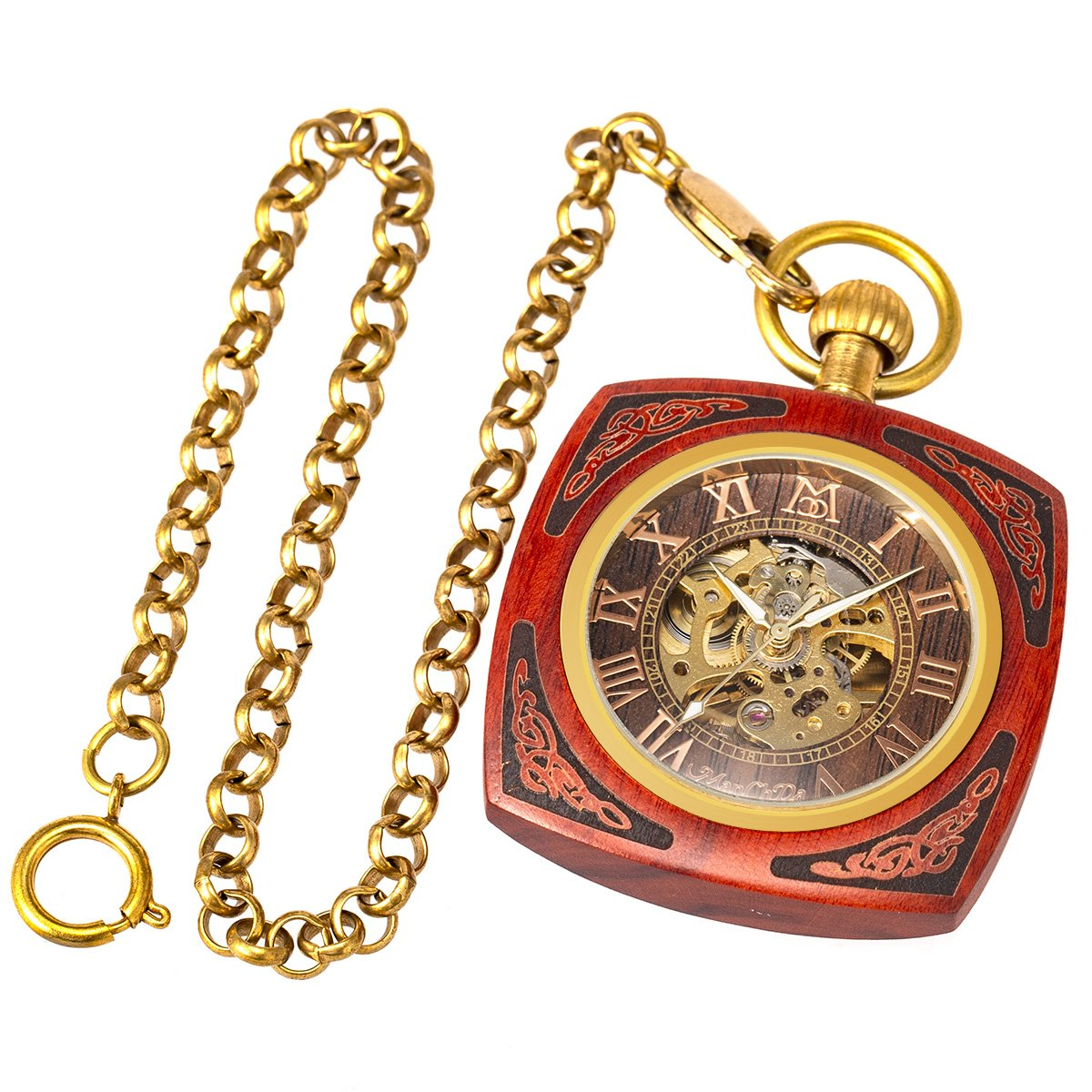 ManChDa Roman Copper Wooden Steampunk Mechanical Skeleton Pocket Watch With Chain Gift Box (4.Square Shape Roman Copper Red Wooden) by ManChDa (Image #4)