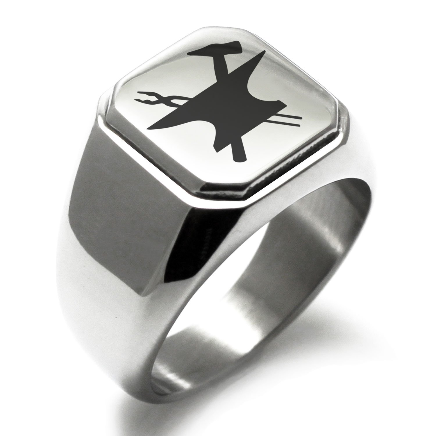 Stainless Steel Hephaestus Greek God of Blacksmith & Fire Symbol Engraved Square Flat Top Biker Style Polished Ring