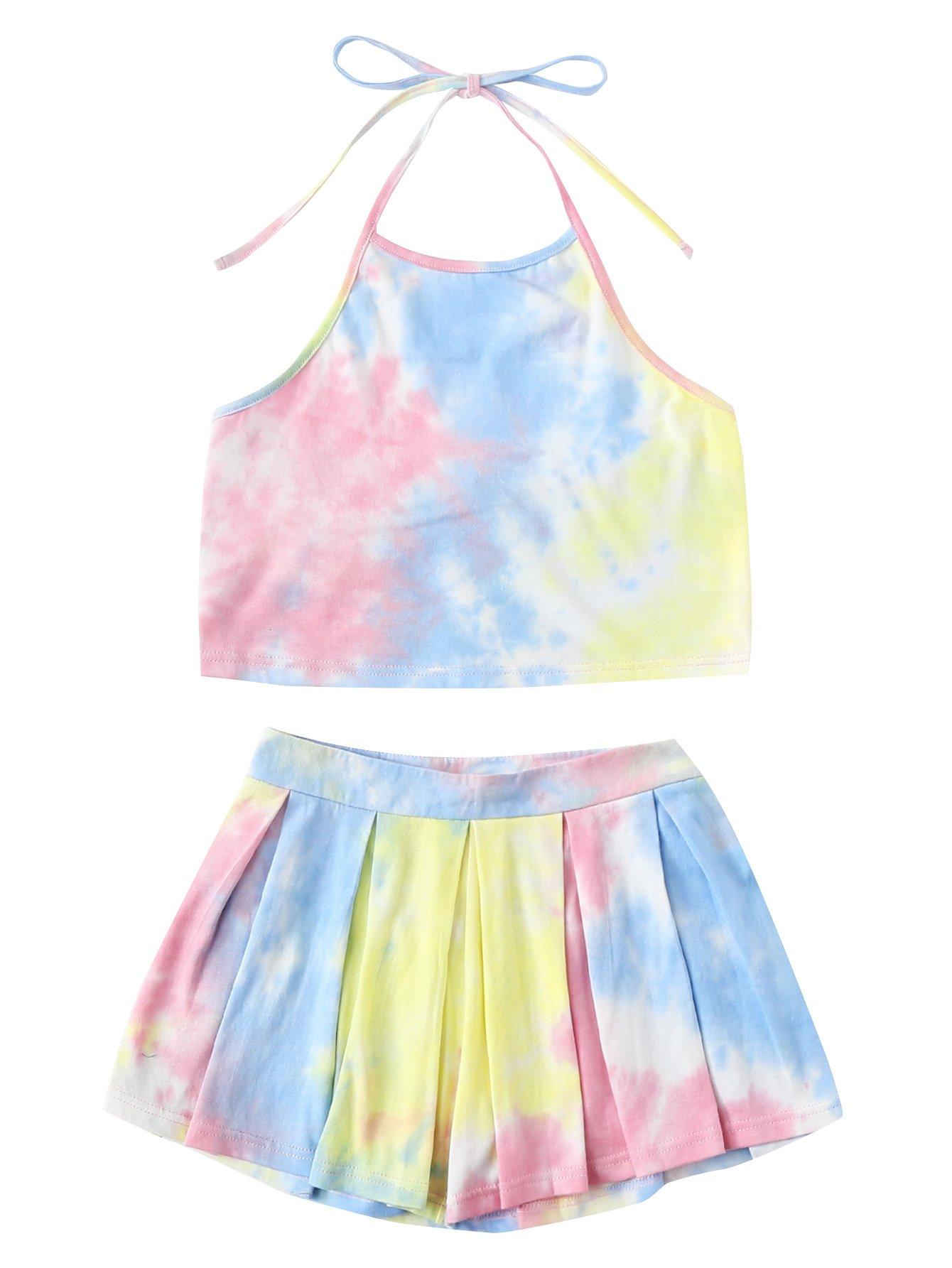 SweatyRocks Women's 2 Piece Set Halter Crop Top and Shorts Set Tie Dye#5 M