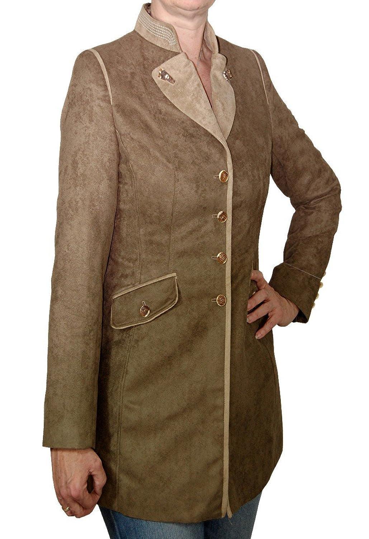lange Damen Trachtenjacke Gehrock Greta Wildlederoptik