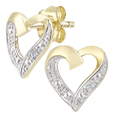836a630e3 Naava Women's 9 ct Yellow Gold Diamond Heart Earrings: Amazon.co.uk:  Jewellery