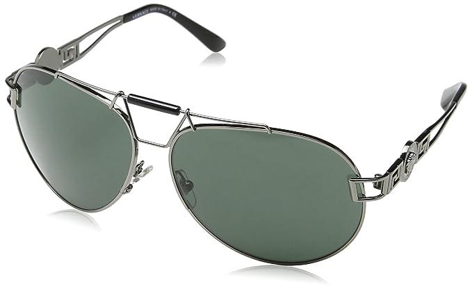 61627938cbf Amazon.com  Versace 2160 1001 71 Silver 2160 Aviator Sunglasses Lens ...