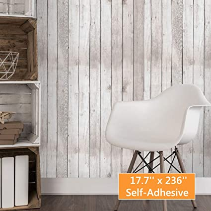 Mulyeeh Vintage Peel And Stick Wallpaper 17 7 X 236 Self Adhesive Removable Wood Plank Faux Wooden Wallpaper Removable Wall Covering Prepasted