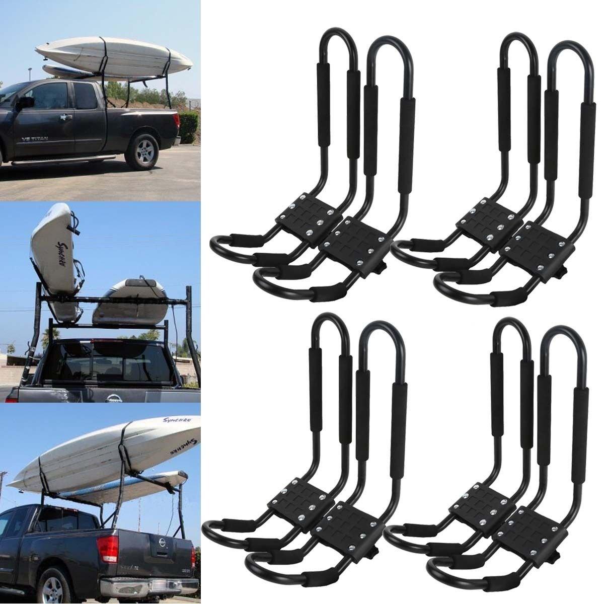 TCMT J-Bar Rack HD Kayak Carrier Canoe Boat Surf Ski Roof Top Mount Car SUV Crossbar (Black, 4 Pairs) by TCMT