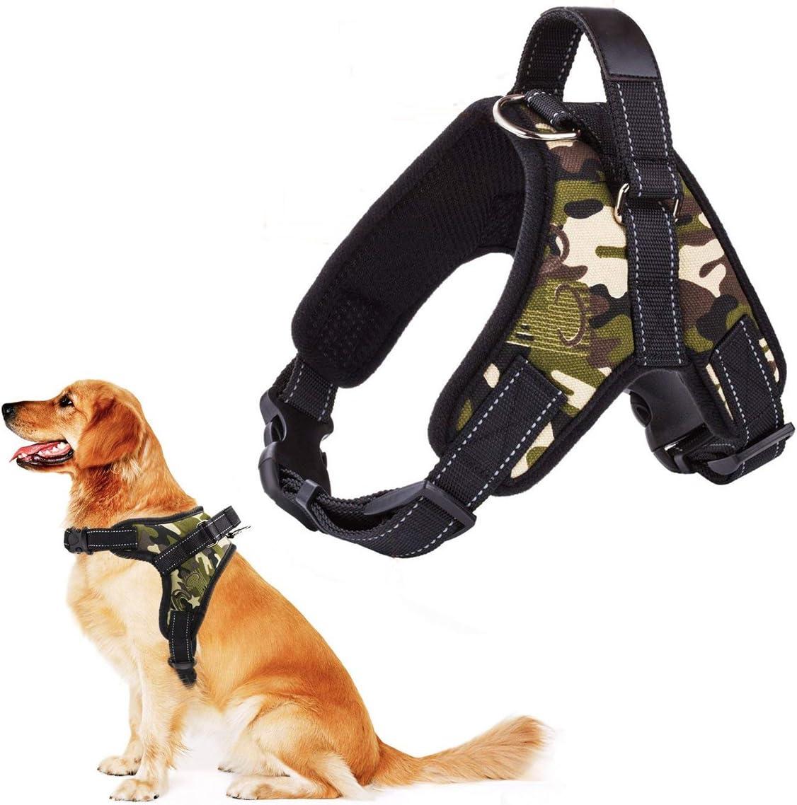 RCruning-EU Perros Pecho de Arnés Mascotas Reflectante Antitranspirante Acolchado Dog Vest Harness Ajustable Arnes Seguridad Chaleco Cabestro-Camouflage Green-L