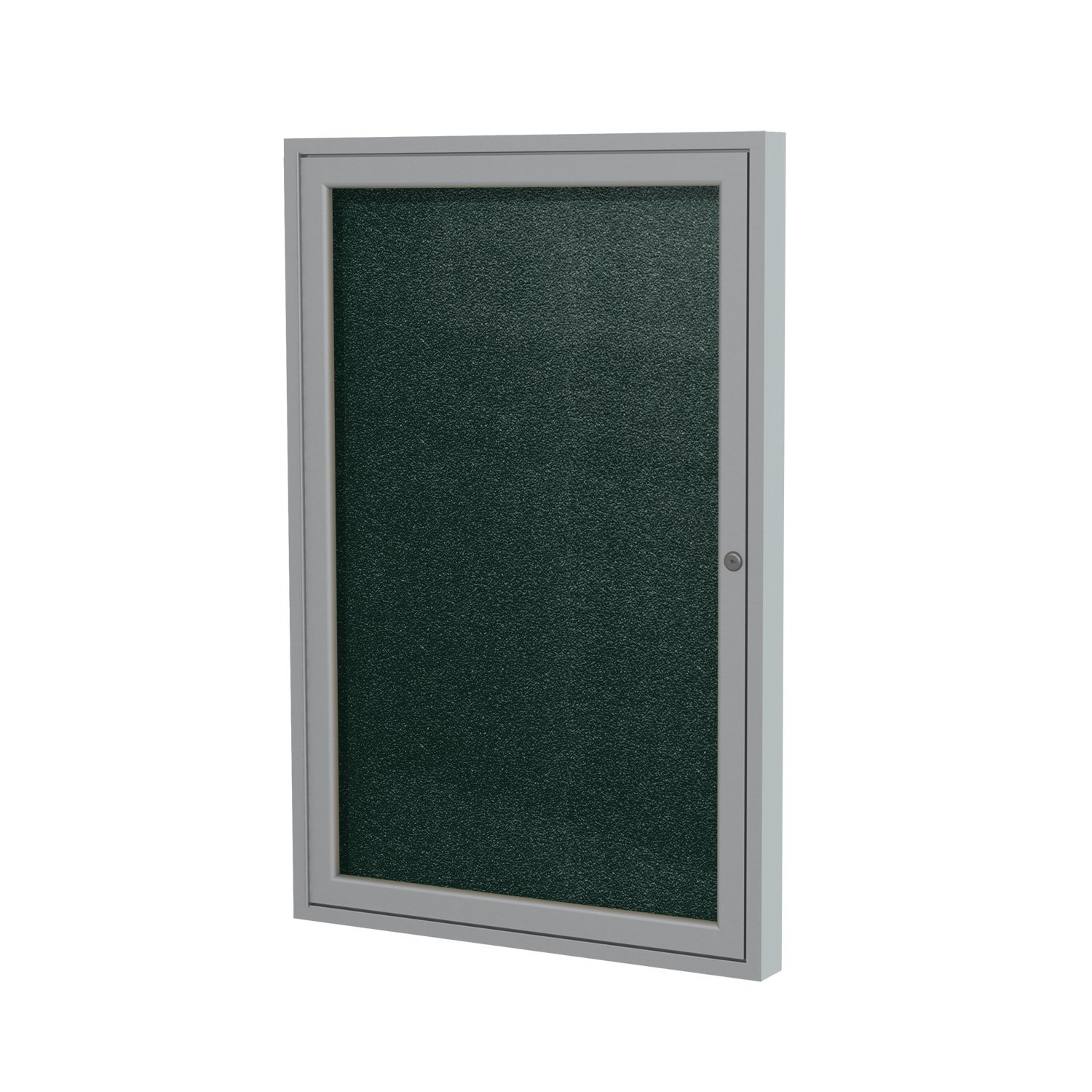 Ghent 24''x18''  1-Door Outdoor Enclosed Vinyl Bulletin Board, Shatter Resistant, with Lock, Satin Aluminum Frame - Ebony (PA12418VX-183), Made in the USA