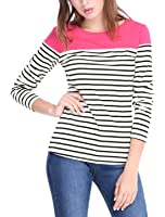 Allegra K Women's Round Neck Long Sleeve Color Block Striped Tops