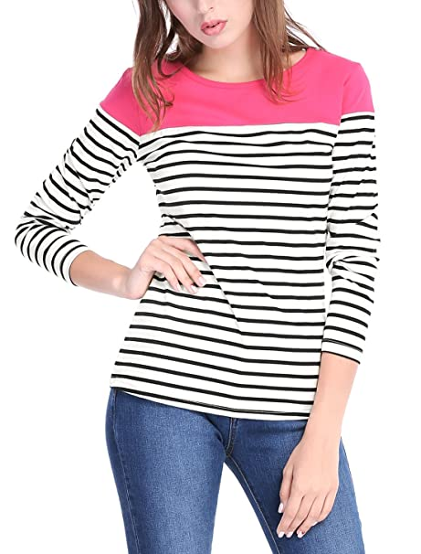 761988494bc Allegra K Women s Round Neck Long Sleeves Color Block Striped Tops T Shirts  Black XS (