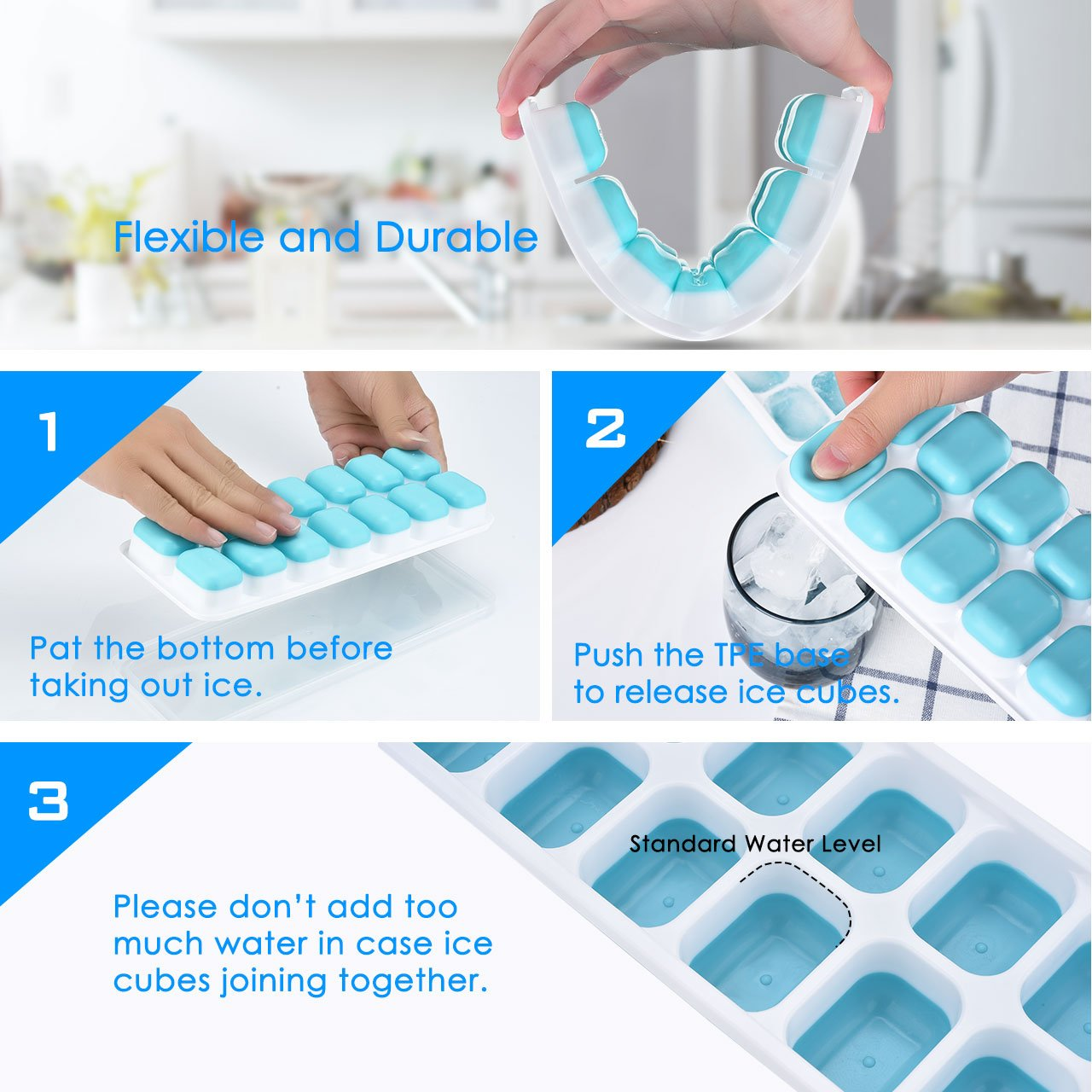 OMorc Ice Cube Trays 4 Pack, Easy-Release Silicone and Flexible 14-Ice Trays with Spill-Resistant Removable Lid, LFGB Certified & BPA Free, Stackable by OMORC (Image #4)
