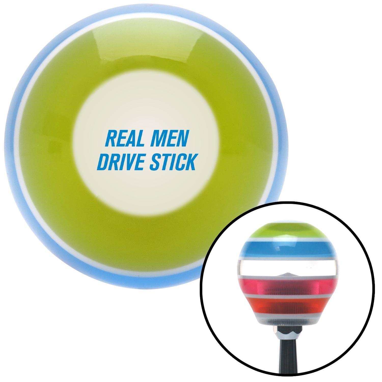 American Shifter 272657 Blue Real Men Drive Stick Stripe Shift Knob with M16 x 1.5 Insert