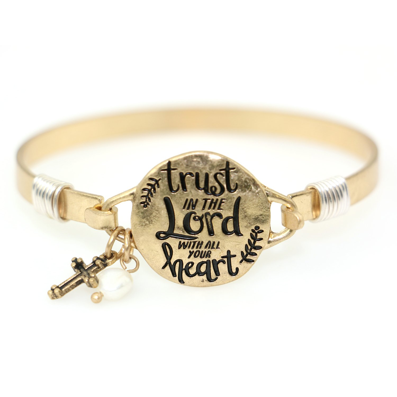 ''Trust in the Lord with all your Heart'' Christian Bangle Disc Bracelet with Wire Design and Cross Charm and Bead (Worn Gold)