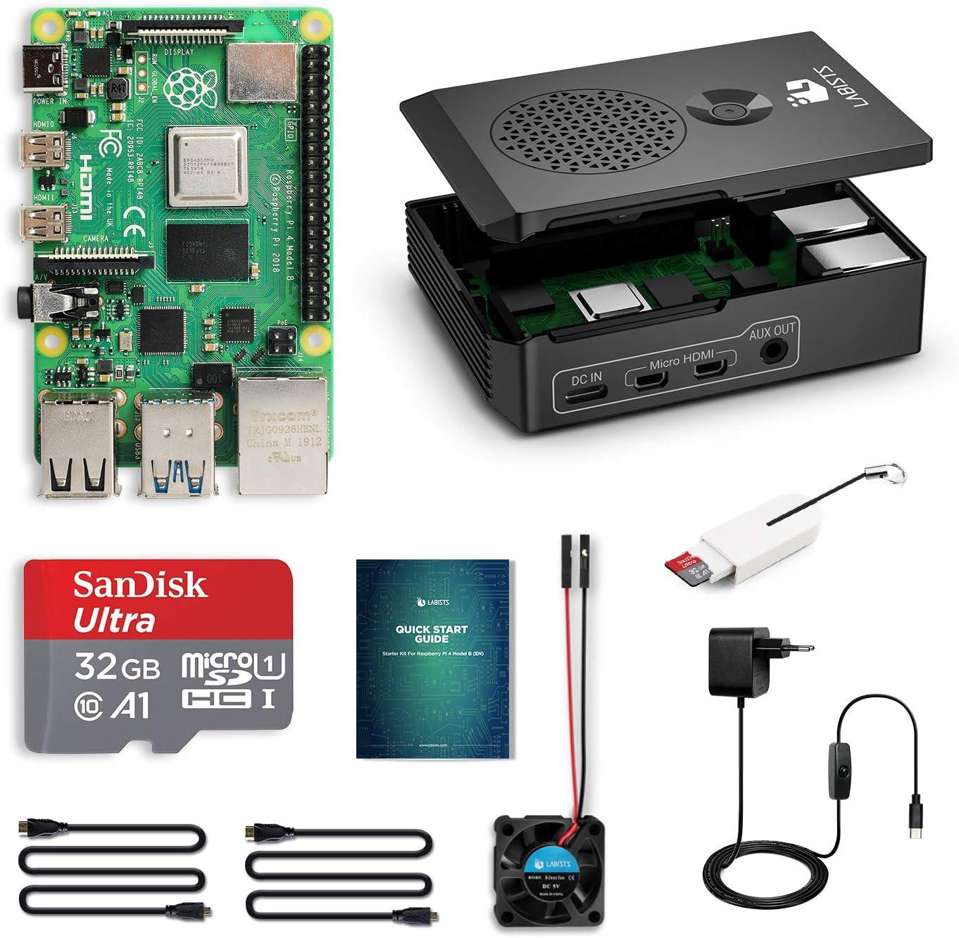 LABISTS Raspberry Pi 4 B 4Go RAM Starter Kit avec 32 Go Carte Micro SD Classe 10, 5,1V 3A Alimentation Interrupteur on/Off, Premium Boîtier Noir, Ventilateur, 2 Câble Micro HDMI, 3 Dissipateur