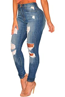 3e54af80eb Ermonn Womens Ripped Jeans Juniors Skinny High Waisted Distressed ...