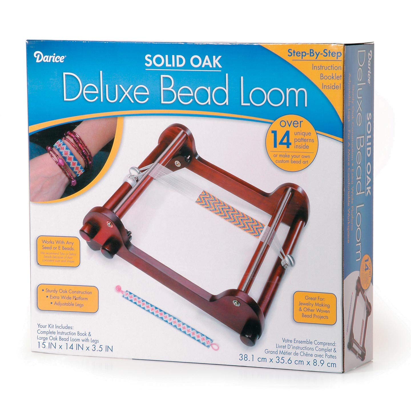 Bulk Buy: Darice DIY Crafts Deluxe Bead Loom Solid Oak 15 x 14 x 3.5 inches (3-Pack 1100-97 Inc.