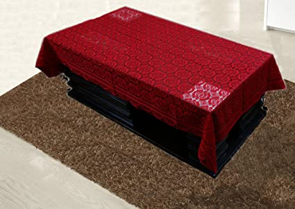 Kuber Industries Cotton Center Table Cover 4 Seater - Maroon
