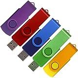 SunData 5pcs 16GB USB 2.0 Flash Drive Swivel Design Memory Stick 5 Pack 16GB Mixed Colors: Purple Green Blue Red Gold