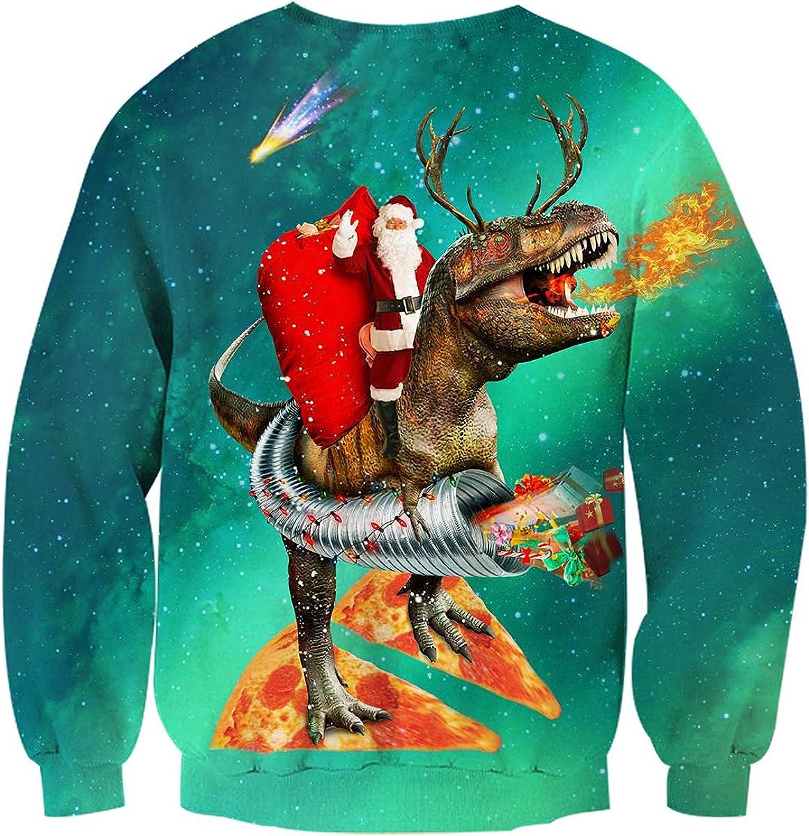 uideazone Unisexe Pulls No/ël Ugly Pullover Christmas Jumper 3D Imprim/é Xmas Sweat-Shirts T Shirt Manche Longue pour Homme Femme