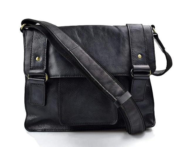 306df5963c3 Cartera de cuero bandolera de piel negro bolso vintage espalda hombre mujer  de piel bolso messenger