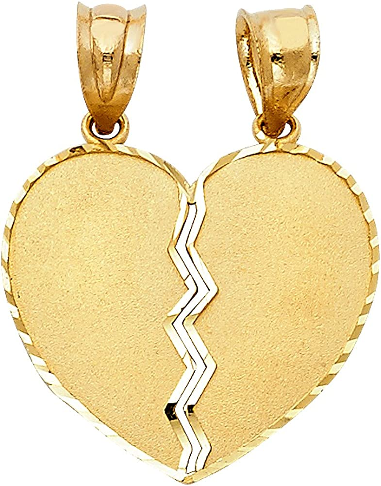 14K Yellow Gold Broken Duo Heart Charm Pendant with 1.5mm Flat Open Wheat Chain Necklace