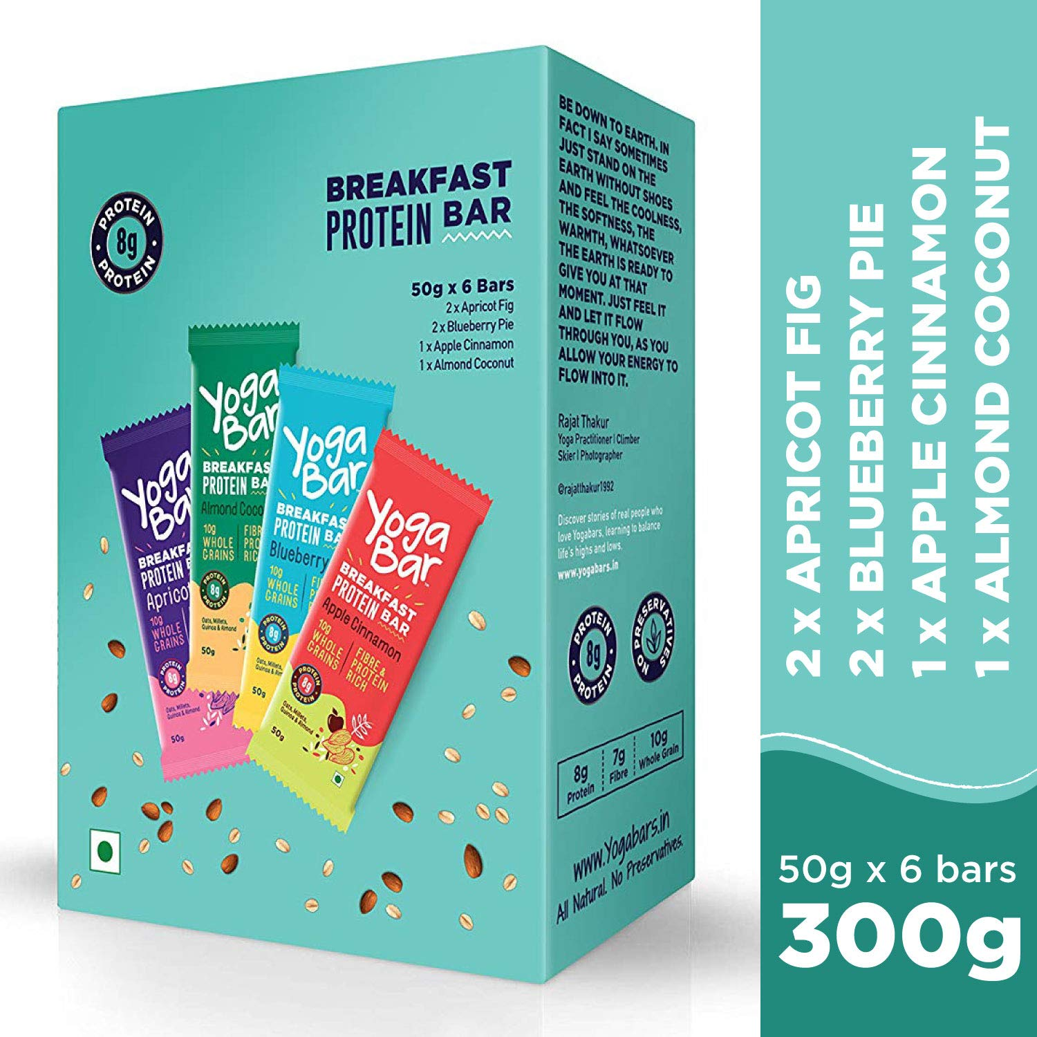 Yogabar Breakfast Protein Variety (Almond Coconut, Apricot & Fig, Blueberry, Apple Cinnamon Bars - 300gm, 6 x 50 g (Box of 6 Bars) product image