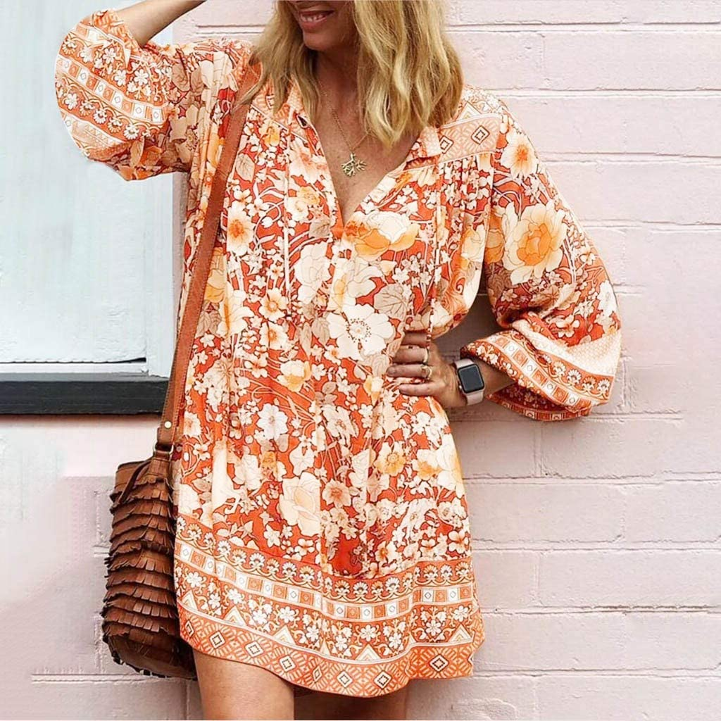WENOVL Maxi Dresses for Women,Fashion Women Long Loose Sleeve Print V-Neck Casual Strappy Dress