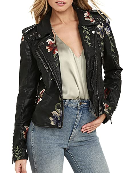BerryGo Womens Floral Embroidered Faux Leather Moto Jacket Coat