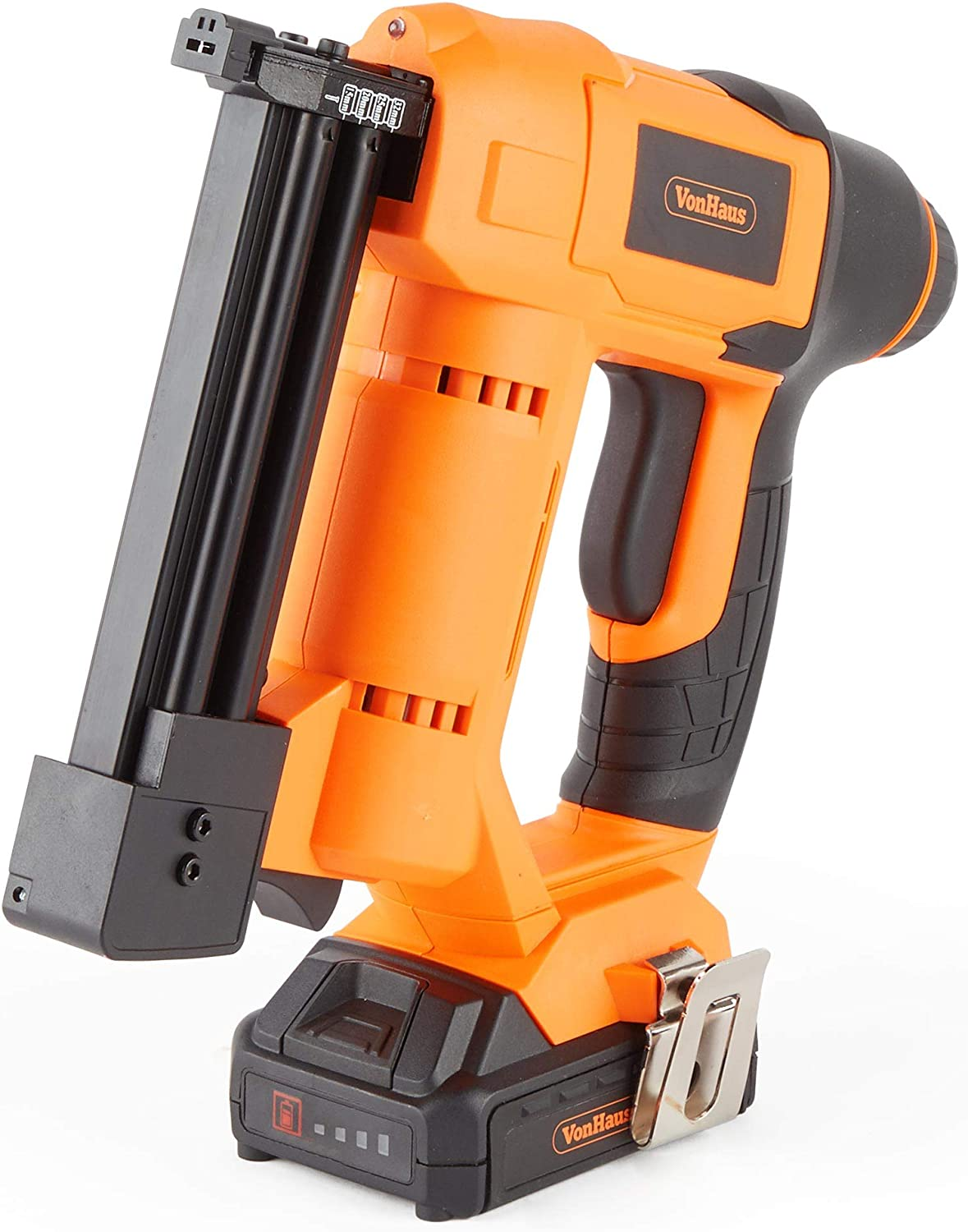 VonHaus 18v Cordless Nail Gun Brad Nailer – Li-ion Battery Operated Ergonomic Medium Duty For Fabrics, Upholstery, Underlay, Carpeting, Roofing Crafts Model No. 9100100