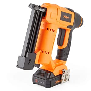 VonHaus 18v Cordless Nail Gun/Brad Nailer - Li-ion Battery Operated – Ergonomic – Medium Duty For Fabrics, Upholstery, Underlay, Carpeting, Roofing & Crafts Model No. 9100100