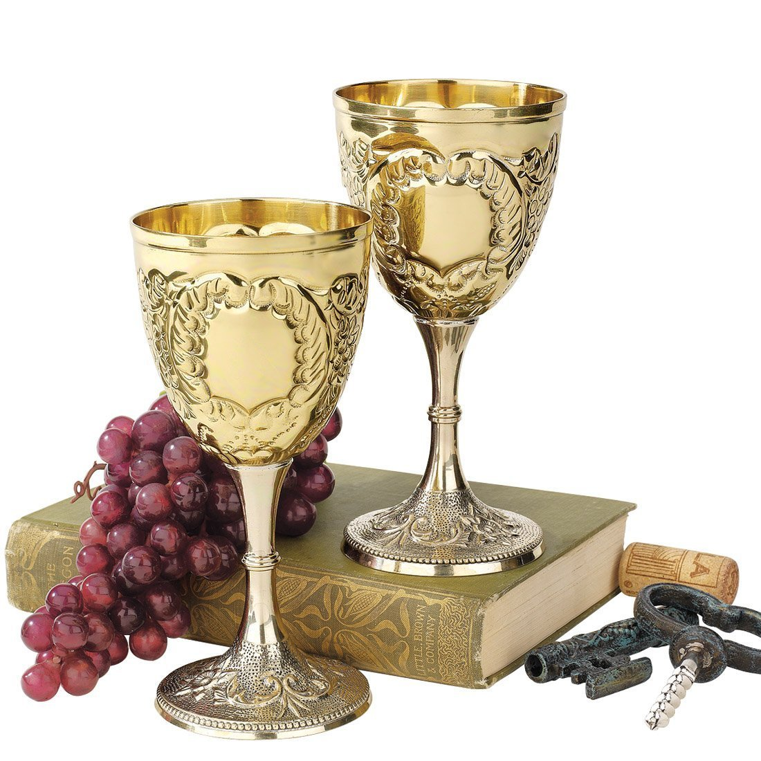 Design Toscano The King's Royal Chalice Embossed Brass Goblet (Set of 2) TV98004