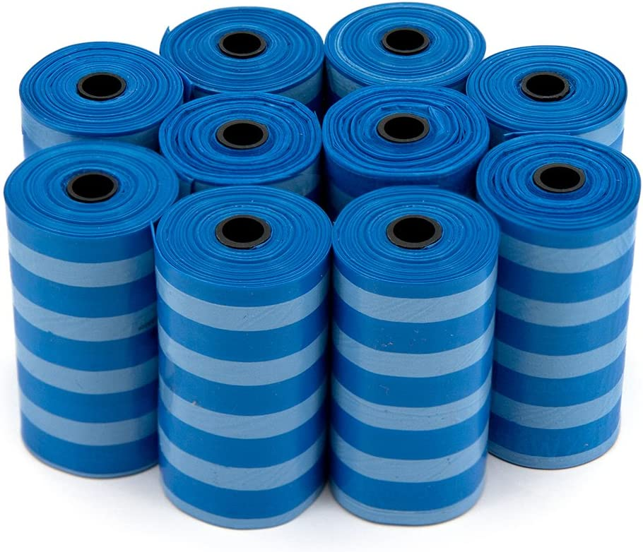 Best Pet Supplies Dog Poop Bags, Rip-Resistant and Doggie Waste Bag Refills With d2w Controlled-Life Plastic Technology - Pack of 150, Blue Strips (Scented)