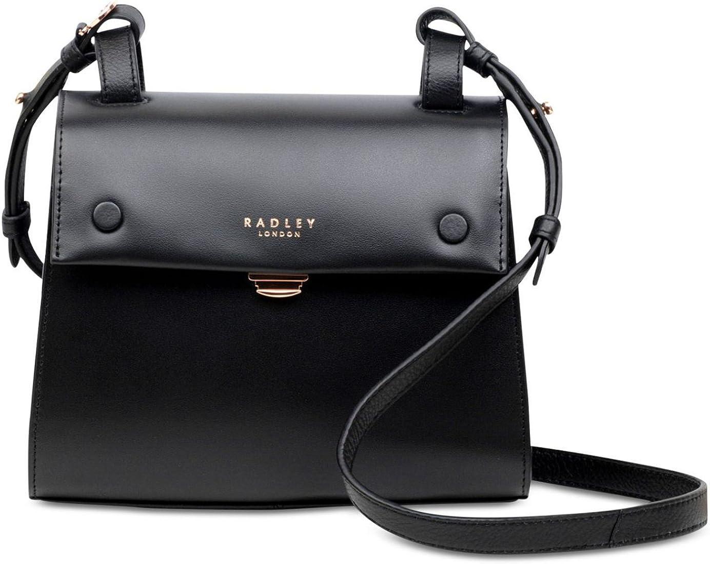 Radley London Lavender Gardens Small Leather Flapover Bag Black