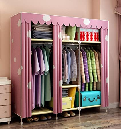 GLu0026G Portable Clothes Closet Non Woven Fabric Wardrobe Double Rod Storage  Organizer Bedroom Wardrobes Clothing