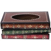 Kingrock Retro Style Book Shape Tissue Box Wooden Cover Paper Storage Bins Napkin Holder Dispenser Case Organizer