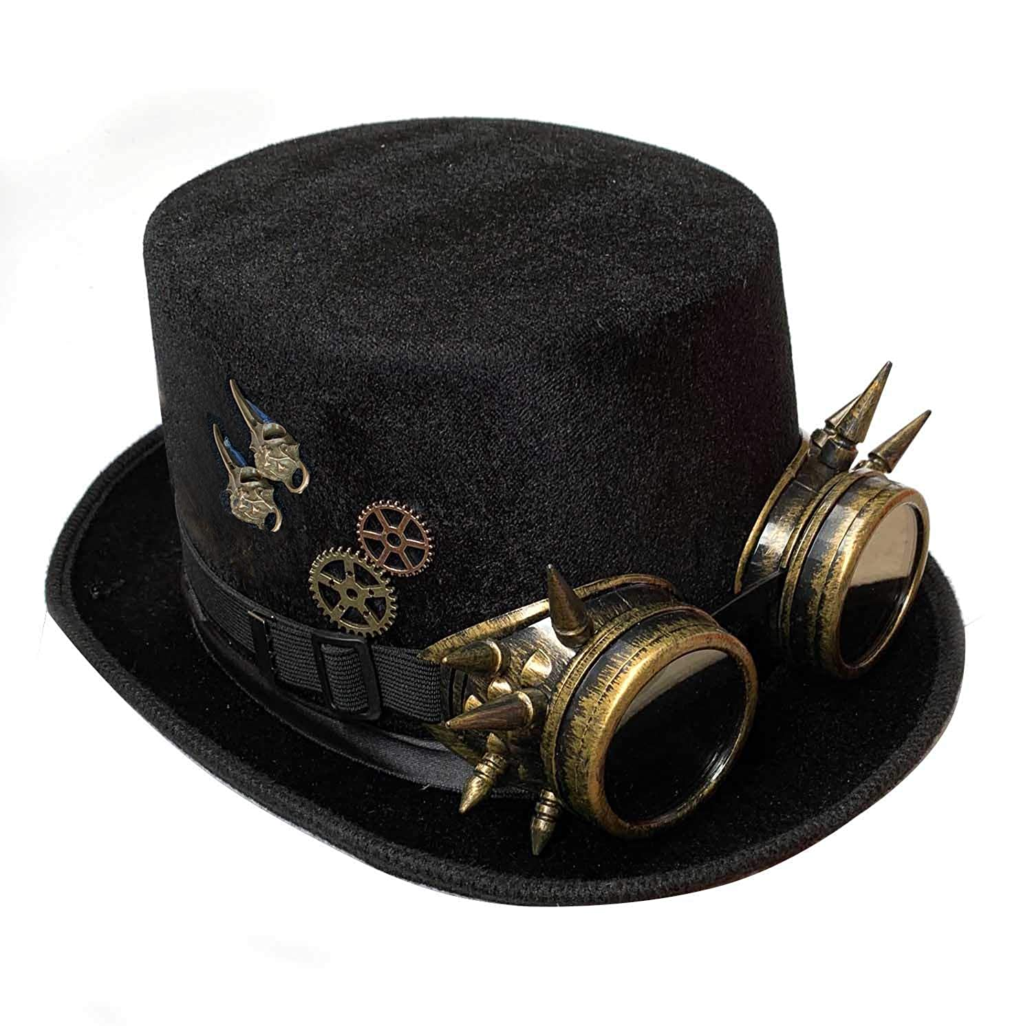 c12f7888073cc Amazon.com  Victorian Steampunk Top Hat Goggles Industrial Gears Bullet  Costume 3 Style Black  Clothing