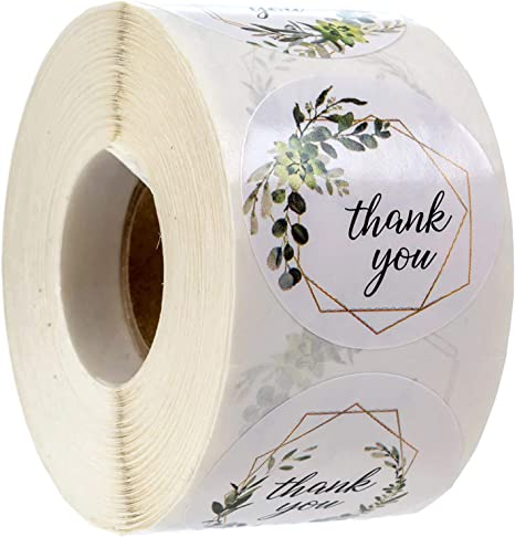 Color Haoyun Round Flower Thank You Stickers for Gift 500 pcs//roll