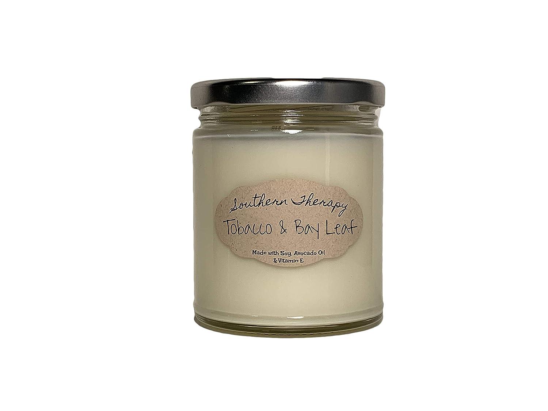 Tobacco & Bay Leaf Candle Moisturizing Scented Soy Candle, Long Burning, Organic