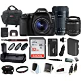 Canon EOS 80D DSLR Camera with 18-55mm & 55-250mm Lenses + Battery Grip & 32GB Deluxe Bundle
