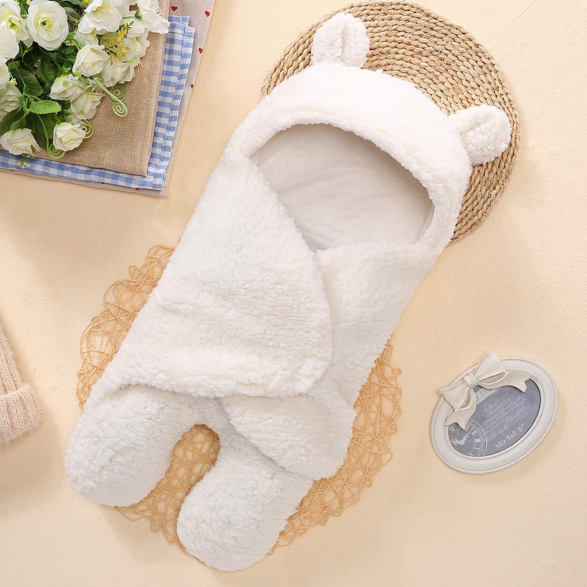 Baby-Decke mit Kapuze Neugeborenes Baby Decke Baumwolle Pl/üsch Swaddle Schlafsack Sack Kinderwagen Wrap f/ür Jungen und M/ädchen erhalten