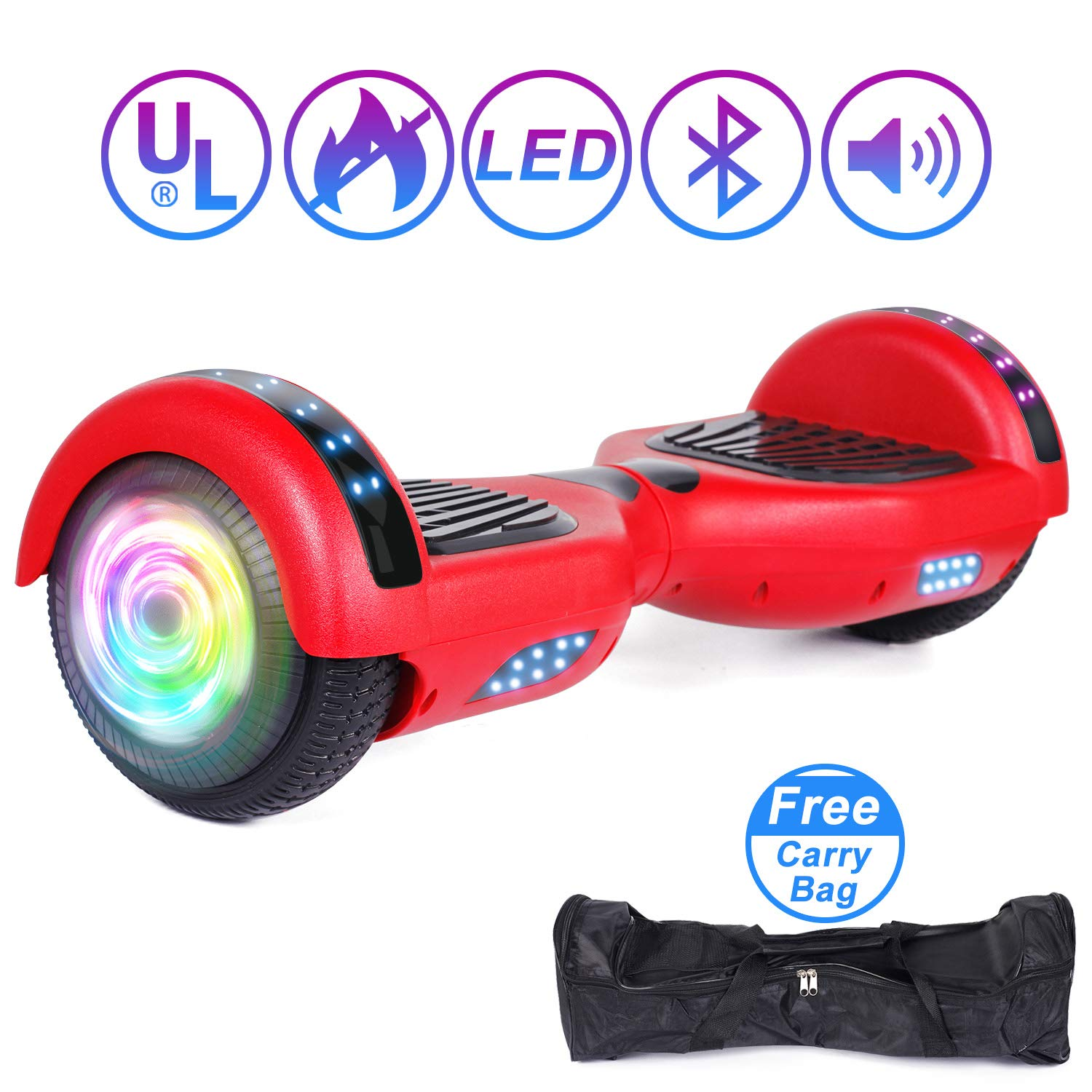 "SISIGAD Hoverboard 6.5"" Self Balancing Scooter with Colorful LED Wheels Lights Two-Wheels self Balancing Hoverboard Dual 300W Motors Hover Board UL2272 Certified(Free Carry Bag Available) by SISIGAD (Image #1)"