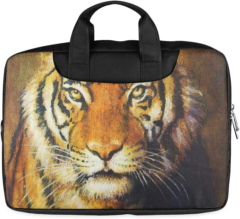 13 Inch Tiger Head Color Oil Painting On Women Laptop Bag with Handle Lightweight Men Briefcase Laptop Fits MacBook Air Pro