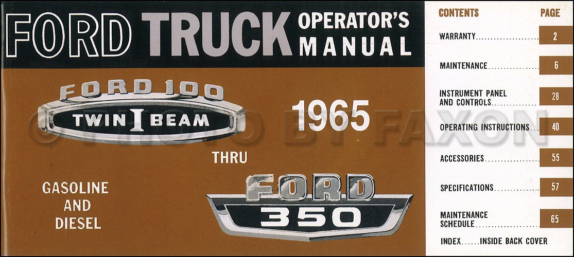 1965 ford f100 f250 f350 pickup truck owner s manual reprint ford rh amazon com 1965 ford f100 service manual 1965 ford truck manual