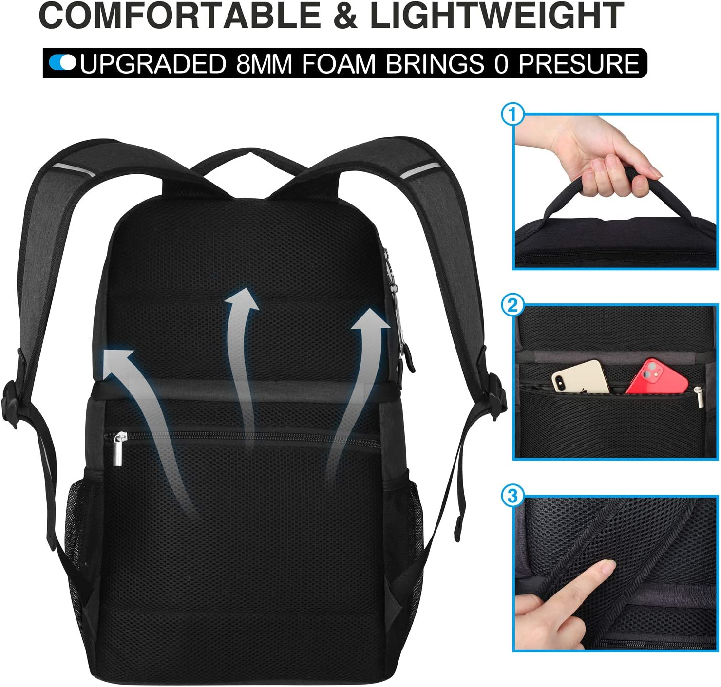 Leakproof Spacious Lightweight Soft Cooler Bag Backpack Cooler for Men Women to Work Travel Hiking Beach Black Double Deck Insulated Cooler Backpack