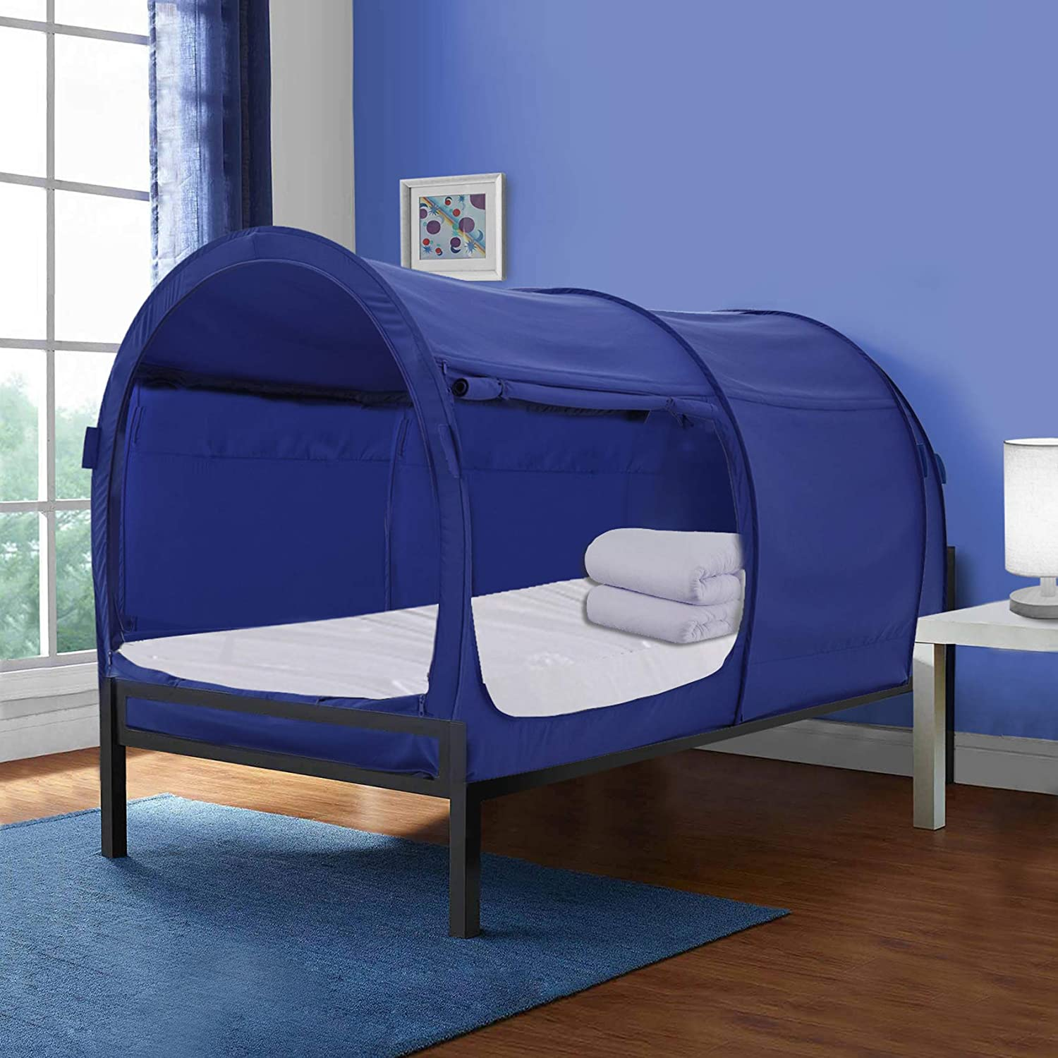 Alvantor Bed Canopy Tents Dream Privacy Space Twin Size Sleeping Tents Indoor Pop Up Portable Frame Curtains Breathable Navy Cottage (Mattress Not Included) Reducing Light: Home & Kitchen