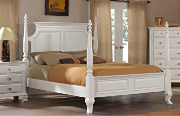 Amazon.com: Roundhill Furniture Laveno 012 White Wood Poster Bed ...