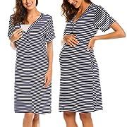 Ekouaer Cotton Short Sleeve Nightgown for Women, Henley Half Button up Sleep Dress (Blue M)