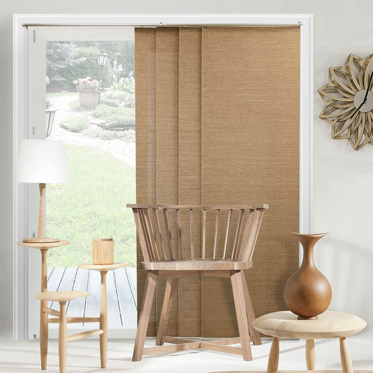 Chicology Adjustable Sliding Panels / Cut To Length, Curtain Drape Vertical  Blind, Natural Woven, Privacy   Birch Truffle