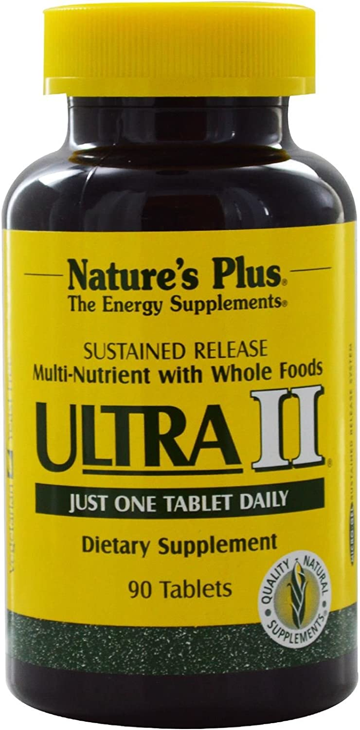 NaturesPlus Ultra II Multivitamin, Sustained Release - 90 Vegetarian Tablets - Daily Whole Food Vitamin & Mineral Supplement for Overall Health - Natural Energy Booster - 90 Servings